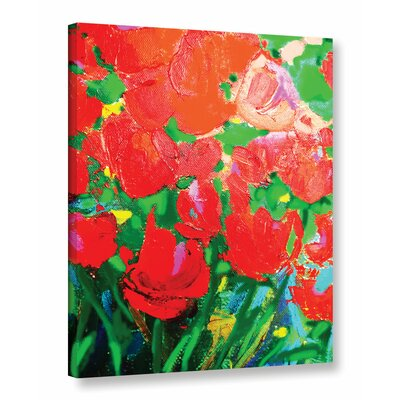 Red Joy Painting Print on Wrapped Canvas