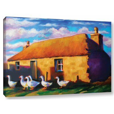 Scottish Stone Cottage Highlands Painting Print on Wrapped Canvas