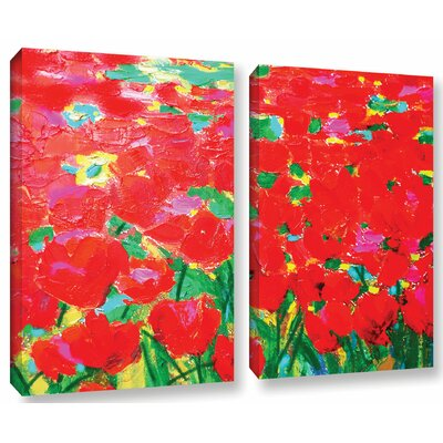 Knee Deep In Roses 2 Piece Painting Print on Wrapped Canvas Set