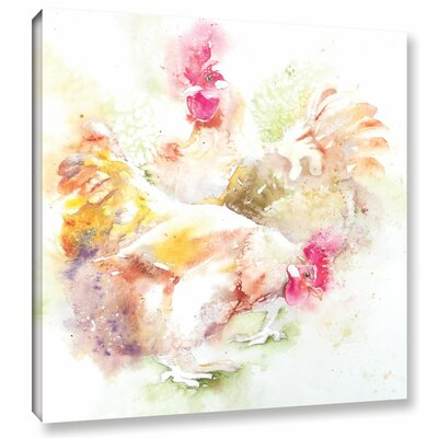 Chickens 4 Painting Print on Wrapped Canvas