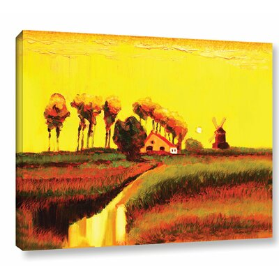 Holland Twilight Painting Print on Wrapped Canvas Size: 14