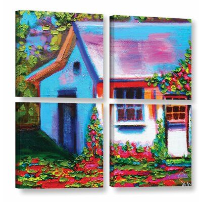 Provence Rose Cottage 4 Piece Painting Print on Wrapped Canvas Set Size: 36
