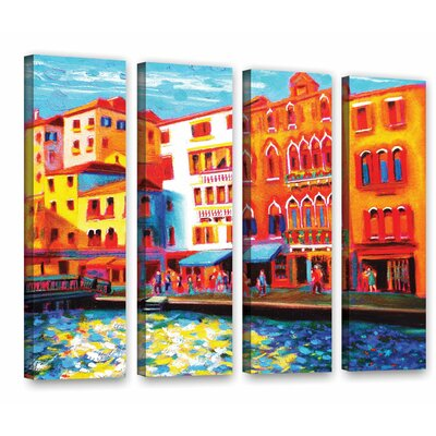 Venice Grand Canal 4 Piece Painting Print on Wrapped Canvas Set Size: 24