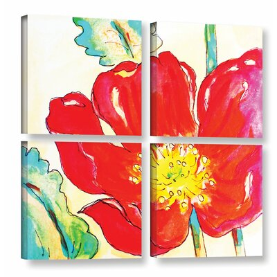 Le Coquelicot 4 Piece Painting Print on Wrapped Canvas Set