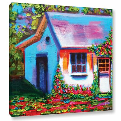 Provence Rose Cottage Painting Print on Wrapped Canvas Size: 14
