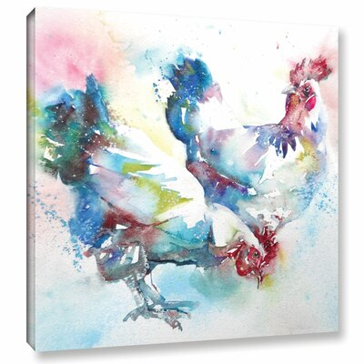 Chickens 2 Painting Print on Wrapped Canvas Size: 10