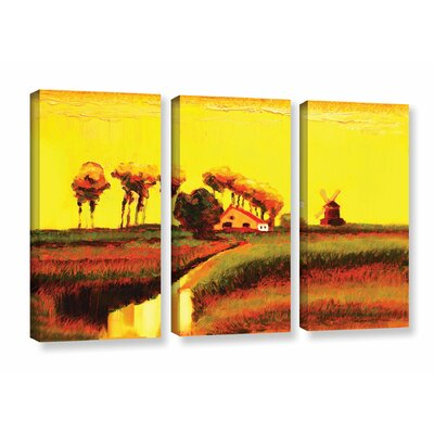 Holland Twilight 3 Piece Painting Print on Wrapped Canvas Set Size: 24