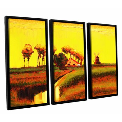 Holland Twilight 3 Piece Framed Painting Print Set