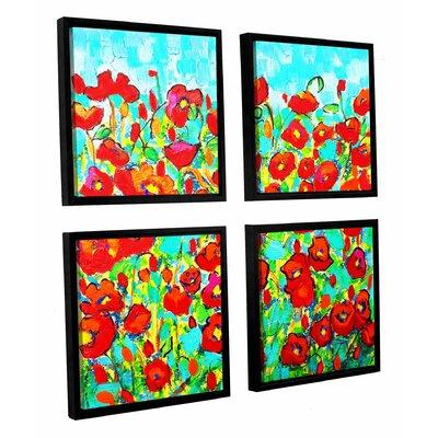 """Poppy Waltz 4 Piece Framed Painting Print Set Size: 36"""" H x 36"""" W x 2"""" D LTRN6832 30806645"""