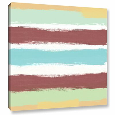 Marsala Paint Stripes Painting Print on Wrapped Canvas