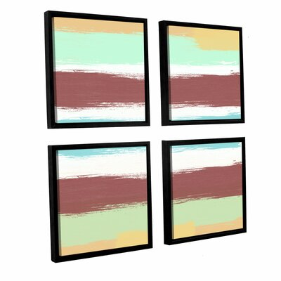 Marsala Paint Stripes 4 Piece Framed Painting Print