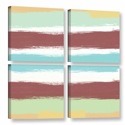 Marsala Paint Stripes 4 Piece Painting Print on Wrapped Canvas Set