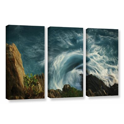 Bending Waves 3 Piece Graphic Art on Wrapped Canvas Set Size: 24