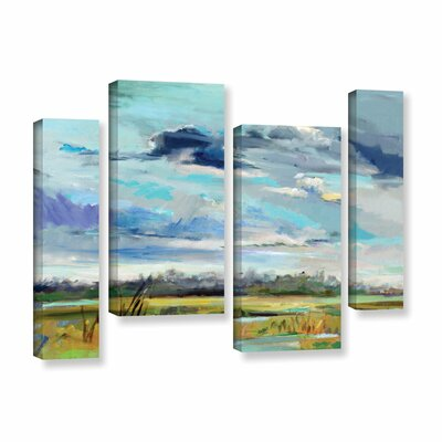 Marsh Skies 4 Piece Original Painting on Wrapped Canvas Set