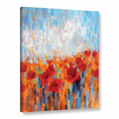 Poppy Walk Painting Print on Wrapped Canvas