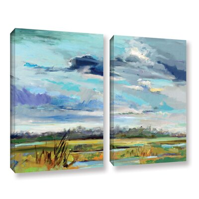 Marsh Skies 2 Piece Original Painting on Wrapped Canvas Set