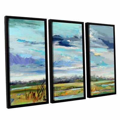 Marsh Skies 3 Piece Framed Original Painting Set