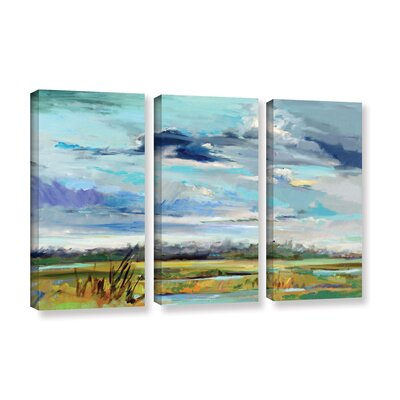 Marsh Skies 3 Piece Original Painting on Wrapped Canvas Set