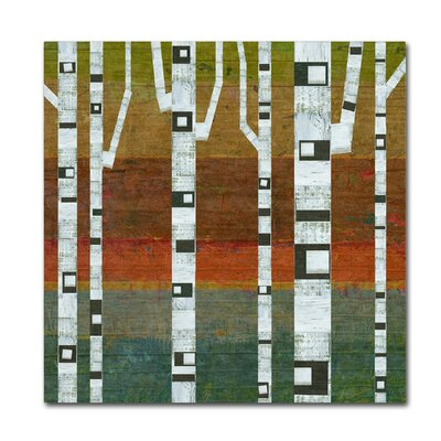 Birches Painting Print on Wrapped Canvas Size: 14