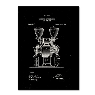 Coffee Grinder Patent 1911 Black Graphic Art on Wrapped Canvas LTRN7825 30965152