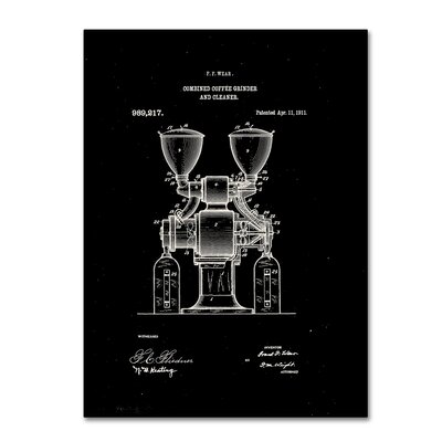 Coffee Grinder Patent 1911 Black Graphic Art on Wrapped Canvas LTRN7825 30965151