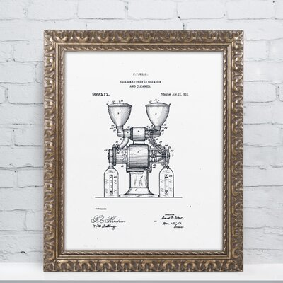 Coffee Grinder Patent 1911 White Gicl�e Framed Graphic Art LTRN7827 30965157