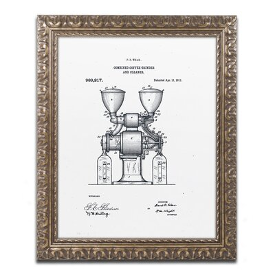 Coffee Grinder Patent 1911 White Gicl�e Framed Graphic Art LTRN7827 30965158