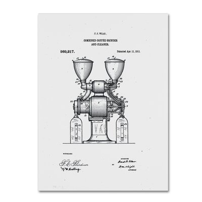 Coffee Grinder Patent 1911 White Graphic Art on Wrapped Canvas LTRN7828 30965159