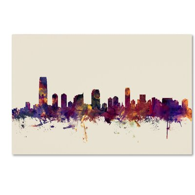 Jersey City New Jersey Skyline Graphic Art on Wrapped Canvas Size: 12
