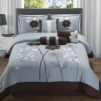 Rowe 7 Piece Comforter Set Color: Blue / Chocolate, Size: Queen
