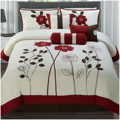 Rowe 7 Piece Comforter Set Color: Red, Size: Queen