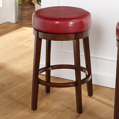 Henley 24 Swivel Bar Stool Upholstery: Red