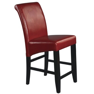 Milsons 24 Bar Stool Upholstery: Crimson Red Bonded Leather