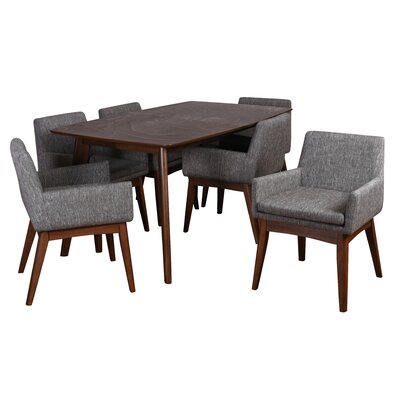 Bohostice 7 Piece Dining Set Upholstery: Coral