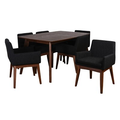 Bohostice 7 Piece Dining Set Upholstery: Licorice