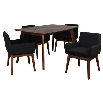 Bohostice 5 Piece Dining Set Upholstery: Licorice