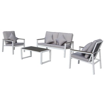 Julianna 4 Piece Lounge Seating Group with Cushion
