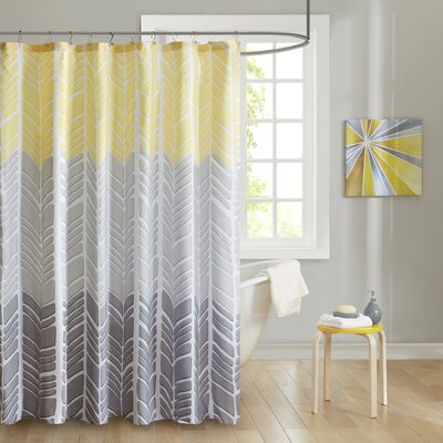 Cherie Printed Shower Curtain Color: Yellow