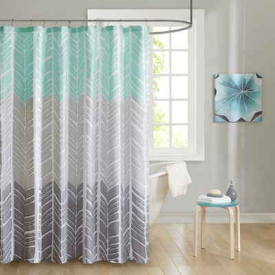 Cherie Printed Shower Curtain Color: Aqua