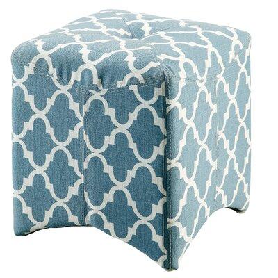 Ririe Quatrefoil Ottoman Upholstery: Blue