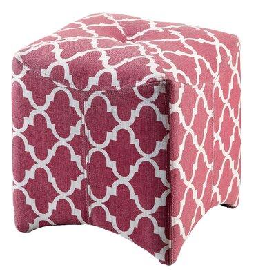 Ririe Quatrefoil Ottoman Upholstery: Red