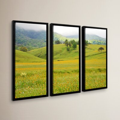 Field of Gold 3 Piece Framed Photographic Print Set