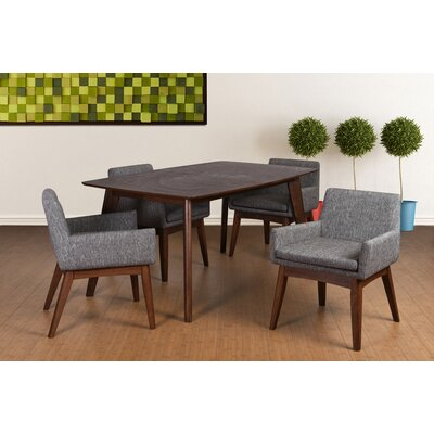 Bohostice 5 Piece Dining Set Upholstery: Coral