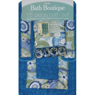 Dinges Boutique Shower Curtain Set Color: Blue-Multi