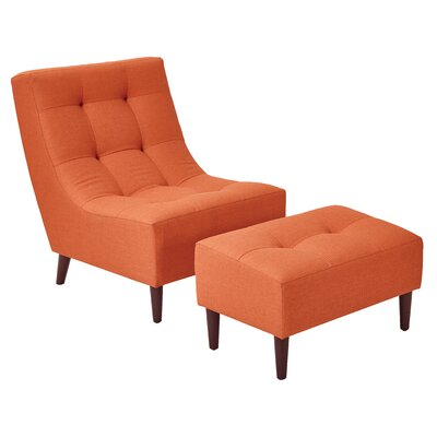 Martha Lounge Chair and Ottoman Upholstery: Tangerine