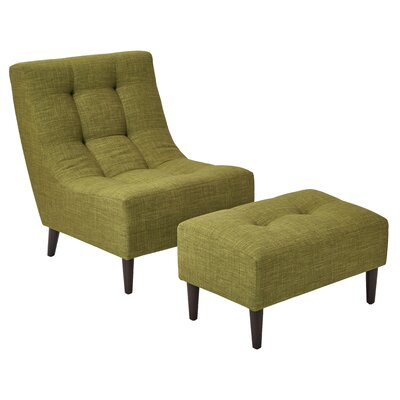 Martha Lounge Chair and Ottoman Upholstery: Green