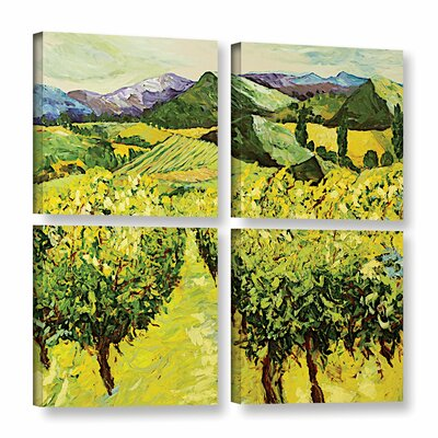 A Good Year 4 Piece Painting Print on Wrapped Canvas Set