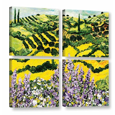 Down the Hill 4 Piece Painting Print on Wrapped Canvas Set