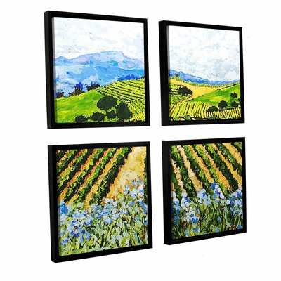 Early Crop 4 Piece Framed Painting Print on Canvas Set