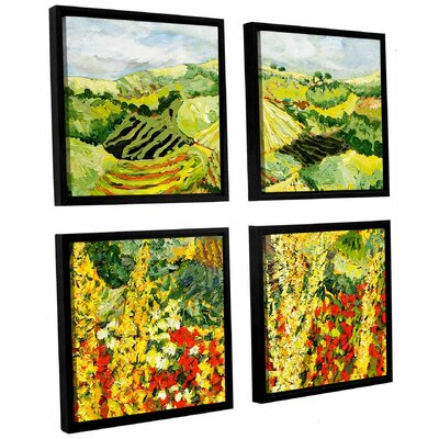 Golden Hedge 4 Piece Framed Painting Print on Canvas Set